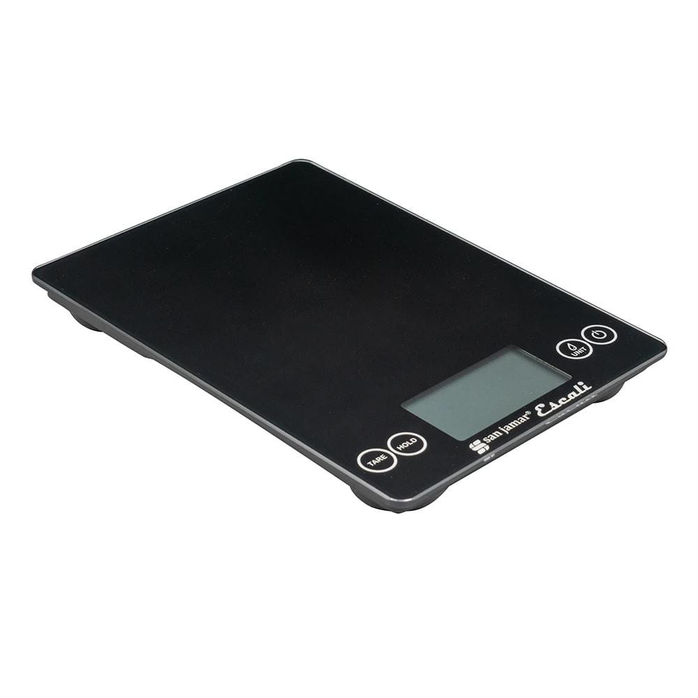 "San Jamar SCDG15BK Escali 15 lb Digital Scale w/ Glass Platform - 9"" x 6 1/2"", Black"